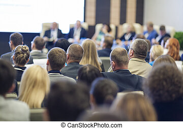 profik, csoport, emberek, nagy, asztal, elülső, közben, conference., kerek, beszélő