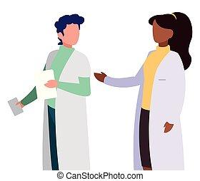 profik, párosít, betűk, orvosok