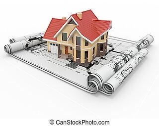 project., tartózkodási, ház, építészmérnök, épület, blueprints.