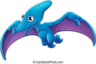 pterosaur, csinos, repülés, karikatúra, dinoszaurusz