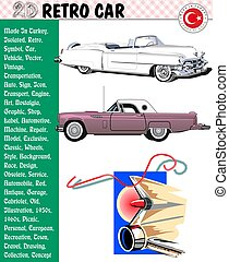 pulyka, eps, elkészített, autó, -, mesék, vektor, retro