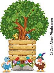 pulyka, fából való, két, aláír, sablon, madarak