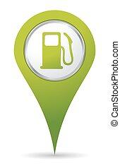 pumpa, gáz, elhelyezés, ikon