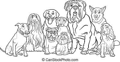 purebred, színezés, csoport, karikatúra, kutyák