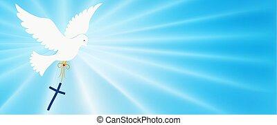 purity., elvont, faith., blue csillogó, fényes, galamb, jelkép., jámbor, keresztény, háttér, evangelization, szállítás, jelkép, baptism., cross., easter., rays., spirit., repülés