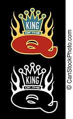 q, király, embléma, grillsütő
