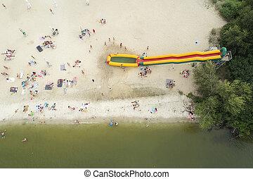 quadrocopter., tengerpart., szem, ukrán, fénykép, víz, madár, zöld, koszos, tart, nézet., tengerpart, kilátás