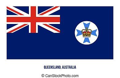 queensland, egyesült államok, fehér, háttér., (qld), australia., ábra, lobogó, vektor