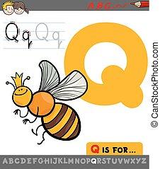 quenn, betű, méh, q, levél, karikatúra