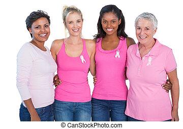 rák, mosolygós, nők, tető, mell, fárasztó, gyeplő, rózsaszínű