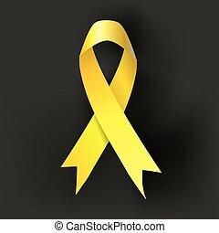 rák, sárga, sötét, háttér., vektor, tudatosság, gyermekkor, szalag
