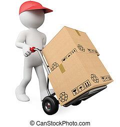 rámenős, munkás, kéz, dobozok, csereüzlet, 3