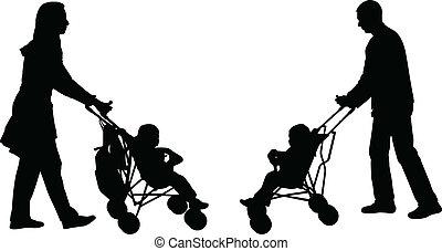 rámenős, szülők, sétálók