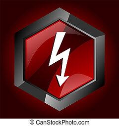 rázkódás, elektromos, villanyáram, dörgés, fellobbant, villámlás, sötét, vektor, megrohamoz, hatszög, piros, ikon