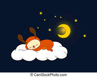 rénszarvas, felhő, alvás