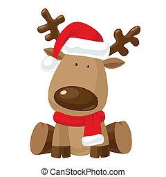 rénszarvas, kalap, karácsony, piros, santa`s