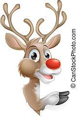 rénszarvas, karikatúra, karácsony
