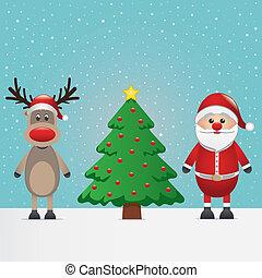 rénszarvas, klaus, fa, karácsony, szent