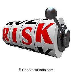 rés, szó, kockáztat, esély, -, gép, lehetőség, hazárdjáték, tol