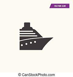 rész, fekete, elülső, hajó, nézet., ikon