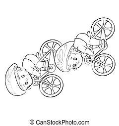 rész, fog, karikatúra, két, skicc, white háttér, elszigetelt, cél, verseny, ábra, vektor, kerékpárosok