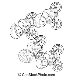 rész, négy, fog, karikatúra, skicc, white háttér, elszigetelt, verseny, cél, ábra, vektor, kerékpárosok