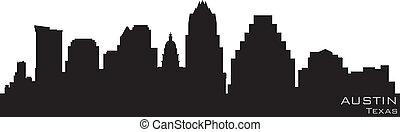 részletes, árnykép, austin, vektor, skyline., texas