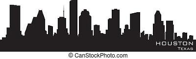 részletes, árnykép, vektor, houston, skyline., texas