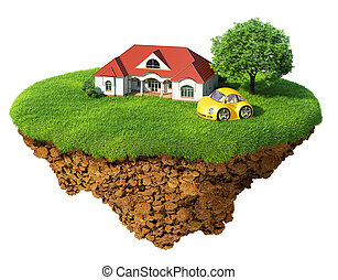 részletes, élet, fogalom, siker, lifestyle., isolated., sziget, idillikus, fa, pázsit, épület, sport, boldogság, ökológiai, dream., autó., elképzel, base., levegő, föld