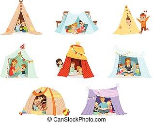 részletes, csinos, kevés, állhatatos, színes, gyerekek, teepee, karikatúra, sátor, ábra, címke, játék, design.