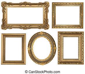 részletes, derékszögben, arany, szüret, ovális, keret, picure, üres