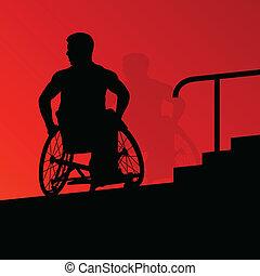 részletes, fogalom, árnykép, lépcsőfok, tolószék, férfiak, fiatal, ábra, meghibásodott, vektor, egészség, háttér, aktivál, lépések, törődik
