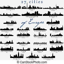 részletes, körvonal, városok, európai