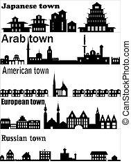 részletes, különböző, vektor, égvonal, város