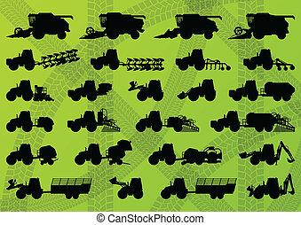 részletes, kartell, ipari, csillék, aratógépek, vontató, ábra, felszerelés, körvonal, vektor, kubikos, gyűjtés, háttér, gazdálkodás, mezőgazdaság