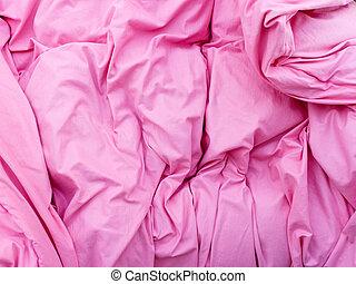 részletes, paplan, closeup, rózsaszínű, ágynemű