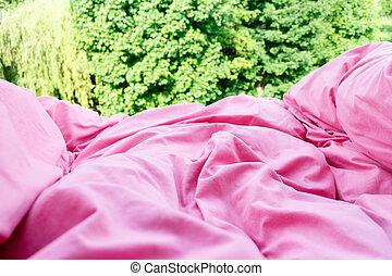 részletes, rózsaszínű, ágynemű, closeup, paplan