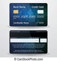 részletes, side., card., gyakorlatias, jelkép, hát, pénz, hitel, vektor, elülső, fizetés