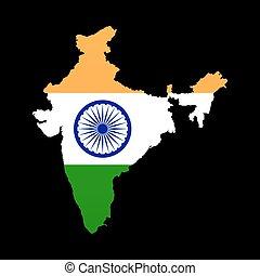 részletes, térkép, lobogó, india