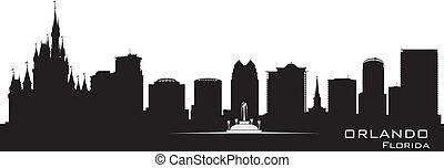 részletes, város, árnykép, orlando, florida, skyline.