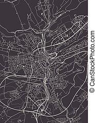 részletes, város térkép, luxemburg, ábra, vektor, monochrom, terv