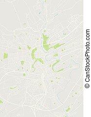 részletes, város térkép, szín, luxemburg, ábra, vektor, terv