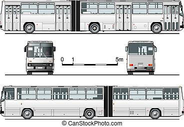 részletes, városi, autóbusz