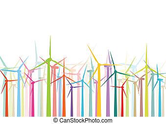 részletes, windmills, ökológia, színes, villanyáram, ábra, körvonal, vektor, generators, gyűjtés, háttér, felteker
