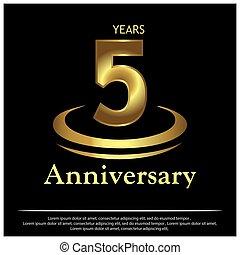 részvény, évforduló, év, vektor, 5, golden., ikon