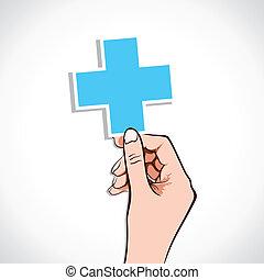 részvény, aláír, orvosi, kéz, kereszt