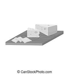 részvény, raster, jelkép, sajt, style., web., ábra, ikon, sajt, monochrom, egyedülálló, bitmap