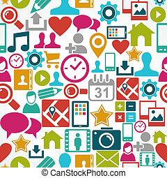 réteg, eps10, hálózat, színes, ikonok, média, könnyen, szervezett, seamless, háttér., editing., vektor, reszelő, társadalmi, motívum