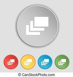 réteg, lakás, buttons., cégtábla., vektor, öt, jelkép, ikon