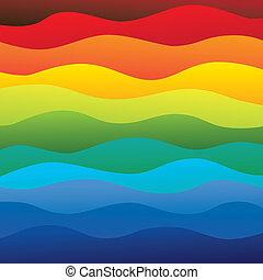 réteg, szivárvány, színes, &, ez, vibráló, elvont, tartalmaz, -, színkép, ábra, óceán víz, befest, vektor, sima, háttér, lenget, (backdrop), graphic.